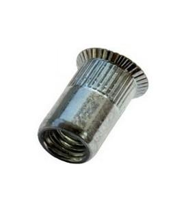 Заклепка M10*21 мм из стали с внутренней резьбой, потайной бортик, с насечкой